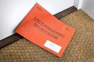 Pensionsmyndigheten - orangea kuvertet