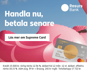 Handla nu och betala senare med Supreme Card Gold